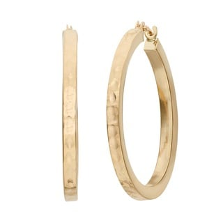 Gioelli 14k Yellow Gold Hammered Hoop Earrings