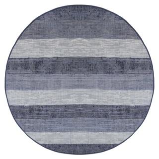 Hand Woven Matador Blue Stripe Leather Rug (8' Round)