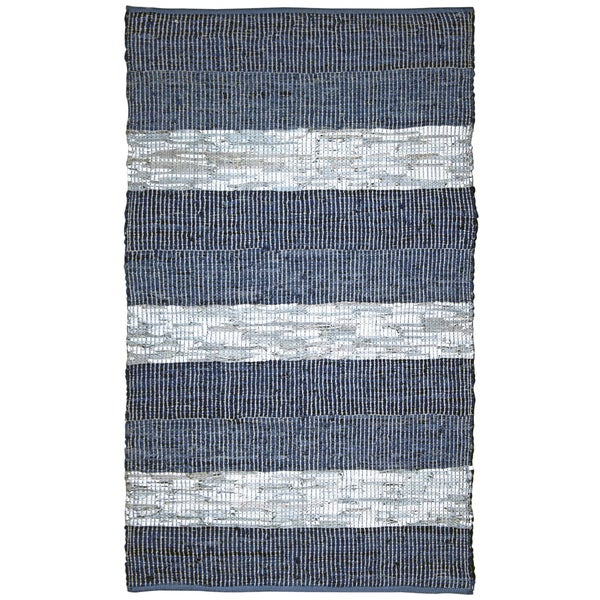 Hand Woven Matador Blue Stripe Leather Rug (8' x 10')