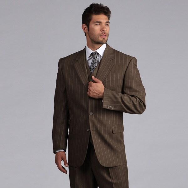 Lucelli Men's Mocha Pin Stripes Vested 3 Button Suit