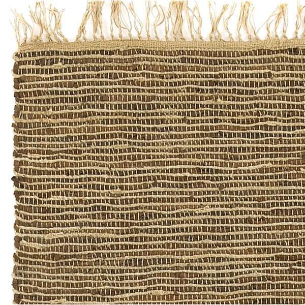 Hand Woven Matador Brown Leather and Hemp Rug (10' x 14') - 10' x 14'