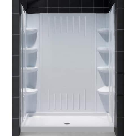 "DreamLine 30 in. D x 60 in. W x 75 5/8 in. H Single Threshold Shower Base and Acrylic Backwall Kit - 30"" x 60"""