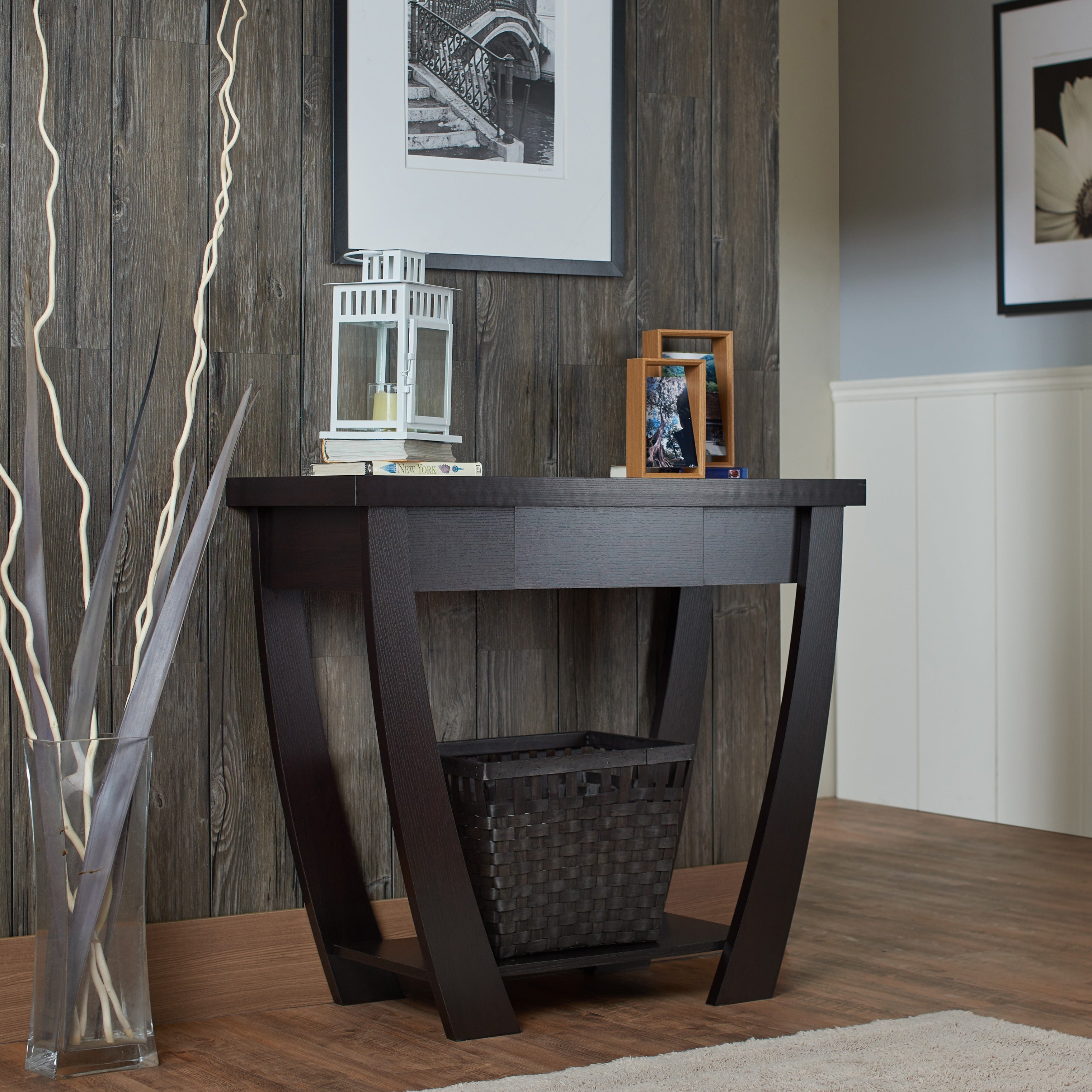 Console Table For Entryway Modern Black Narrow Storage