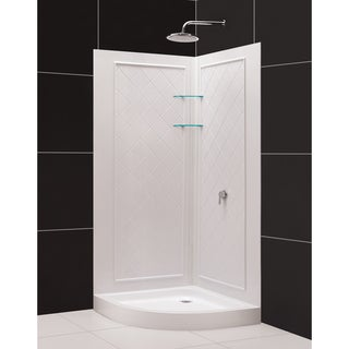 SlimLine Quarter Round Shower Base and QWALL-4 Shower Backwalls Kit
