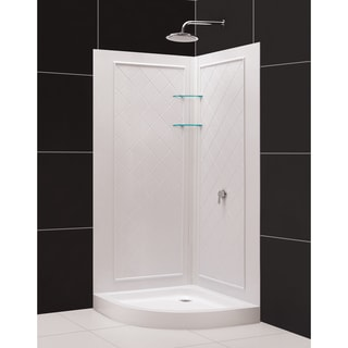 SlimLine Quarter Round Shower Tray and QWALL-4 Shower Backwalls Kit