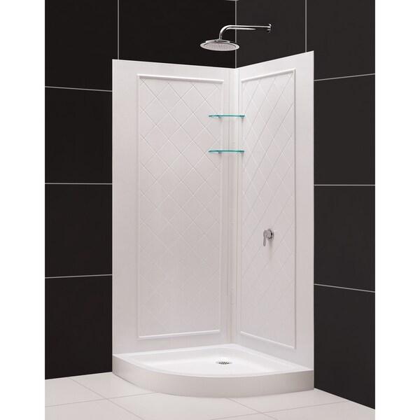 SlimLine Quarter Round Shower Tray and QWALL-4 Shower Backwalls Kit