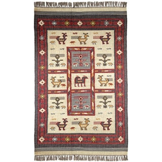 Hand Woven Off White Tribal Wool and Jute (9 x 12')