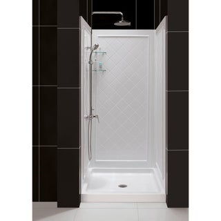 "DreamLine 36 in. D x 36 in. W x 76 3/4 in. H Single Threshold Shower Base and Acrylic Backwall Kit - 36"" x 36"""
