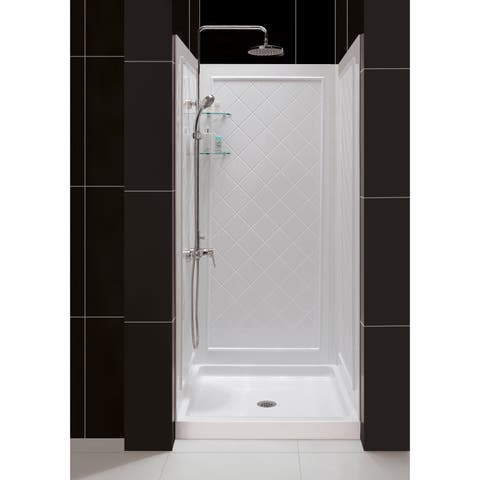 """DreamLine 36 in. D x 36 in. W x 76 3/4 in. H Single Threshold Shower Base and Acrylic Backwall Kit - 36"""" x 36"""""""