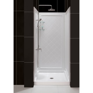 DreamLine SlimLine 36 x 36-inch Single Threshold Shower Base and QWALL-5 Shower Backwall Kit