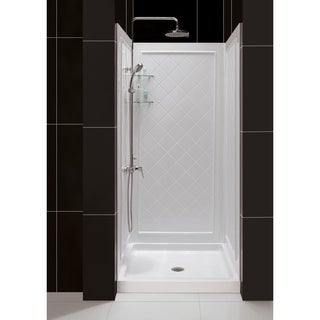 DreamLine 36 in. D x 36 in. W x 76 3/4 in. H SlimLine Single Threshold Shower Base and QWALL-5 Acrylic Backwall Kit