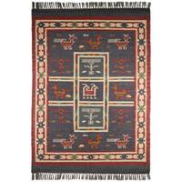 Hand Woven Blue Tribal Wool and Jute (9 x 12')