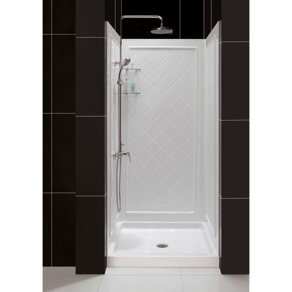DreamLine SlimLine 32 in. by 32 in. Single Threshold Shower Base and QWALL-5 Shower Backwall Kit