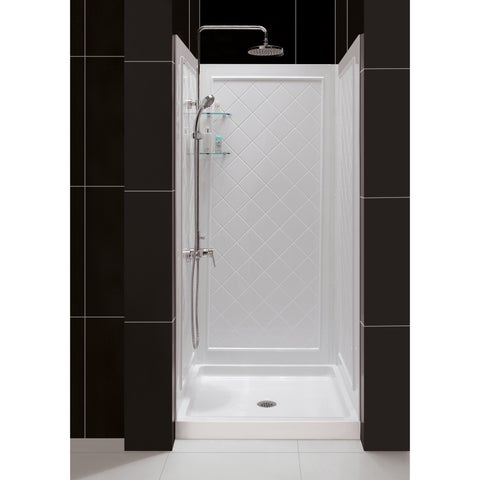 DreamLine 32 in. D x 32 in. W x 76 3/4 in. H SlimLine Single Threshold Shower Base and QWALL-5 Acrylic Backwall Kit