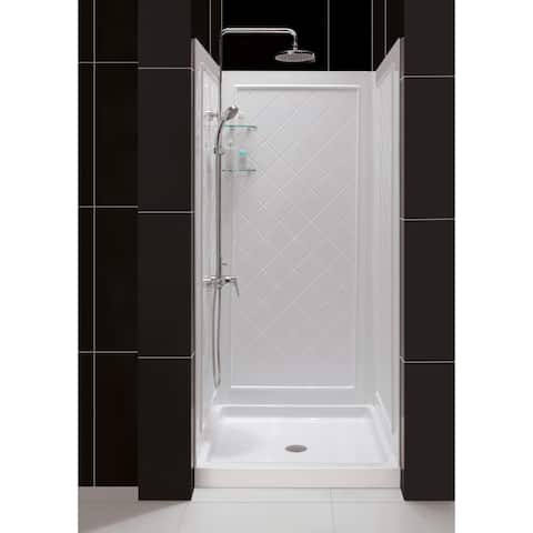 "DreamLine 32 in. D x 32 in. W x 76 3/4 in. H Single Threshold Shower Base and Acrylic Backwall Kit - 32"" x 32"""