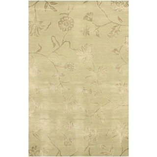 Hand-tufted Wool & Viscose Green Transitional Floral Beatrice Rug (4' x 6')