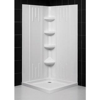 SlimLine Acrylic Double-Threshold Shower Base and QWALL-2 Shower Backwalls Kit