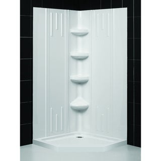 SlimLine 40 x 40_inch Neo Shower Floor and QWALL-2 Shower Backwalls Kit