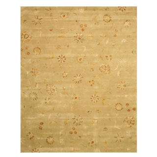 Hand-tufted Wool & Viscose Green Transitional Floral Modern Floral Rug (4' x 6')