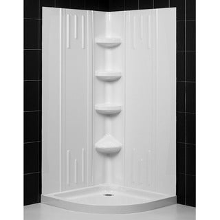 SlimLine Quarter Round Shower Base and QWALL-2 Shower Backwalls Kit