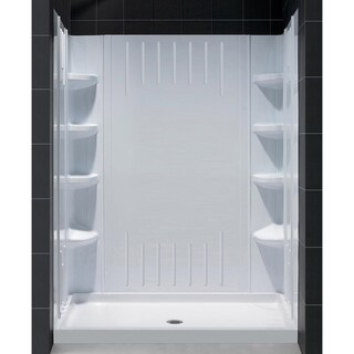 """DreamLine 36 in. D x 60 in. W x 75 5/8 in. H Single Threshold Shower Base and Acrylic Backwall Kit - 36"""" x 60"""""""
