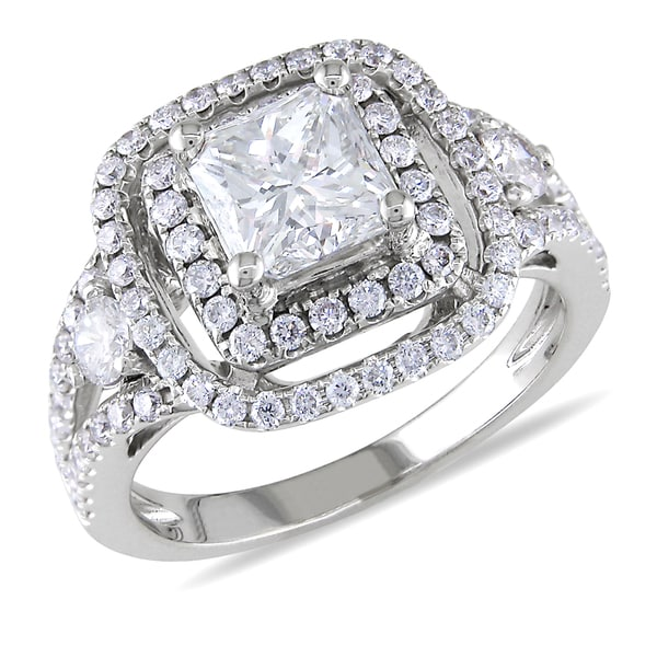 14k White Gold 2 2/5ct TDW Certified Diamond Ring (H, VS1)(GIA)