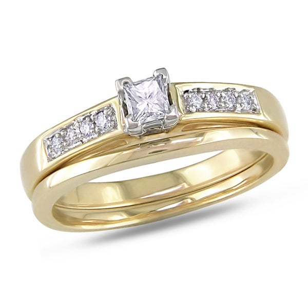 Miadora 14k Yellow Gold 1/4ct TDW Diamond Bridal Set (G-H, SI1-SI2)