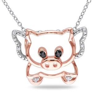 Miadora Sterling Silver Diamond Pig Necklace