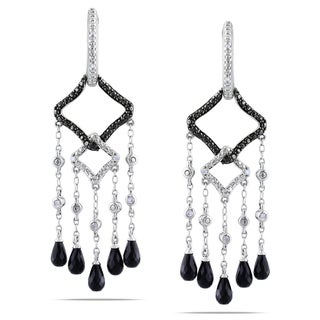 Miadora Sterling Silver Spinel, Onyx and Diamond ChandelierEarrings