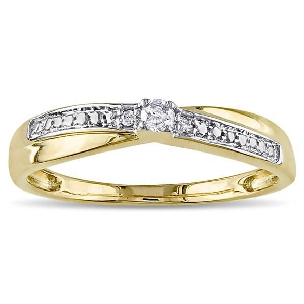 Miadora 10k Yellow Gold Diamond Promise Ring