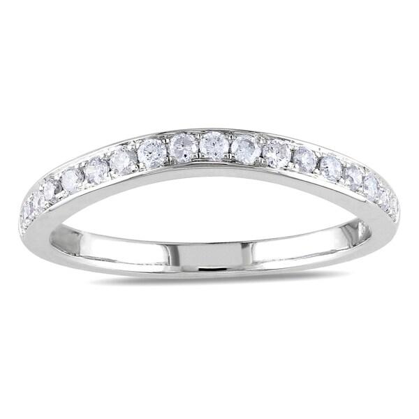 Miadora 14k White Gold 1/3ct TDW Diamond Wedding Band (G-H, SI1-SI2)