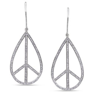 Miadora Signature Collection 14k White Gold 3/4ct TDW Diamond Peace Earrings (G-H, SI1-SI2)