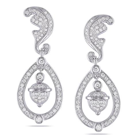 Miadora Signature Collection 14k White Gold 1 1/4ct TDW Diamond Earrings
