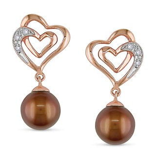 Miadora 10k Rose Gold Cultured Freshwater Pearl and Diamond Earrings (6.5-7 mm)