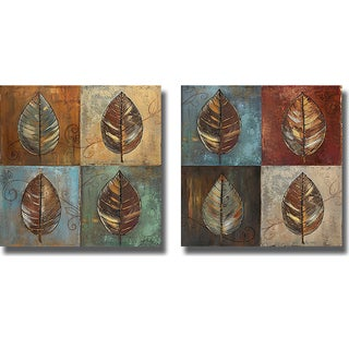 Patricia Pinto 'New Leaf Patch I and II' Canvas Art