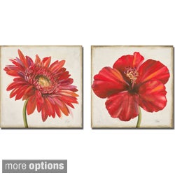 Patricia Pinto 'Red Gerber Daisy and Red Hibiscus' 2-piece Canvas Art Set