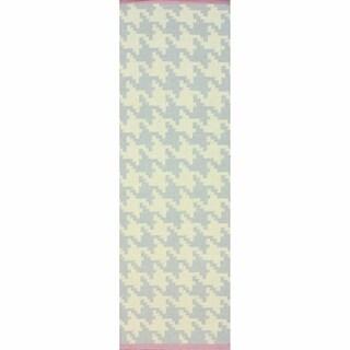 nuLOOM Handmade Flatweave Houndstooth Grey Wool Runner (2'6 x 8')