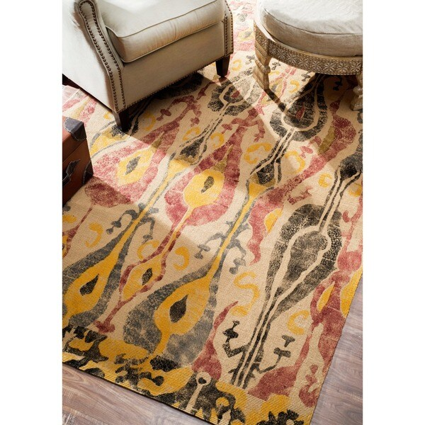 shop nuloom handmade ikat natural jute rug 8 39 x 10 39 on sale free shipping today. Black Bedroom Furniture Sets. Home Design Ideas