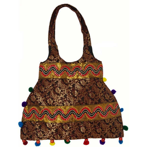 Black Brocaded Shopper Bag with Sequins and Pom-Poms (India)