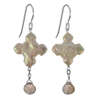 Ashanti Sterling Silver Cross Freshwater Pearl Labradorite Faceted Briolette Dangle Earrings (Sri Lanka)
