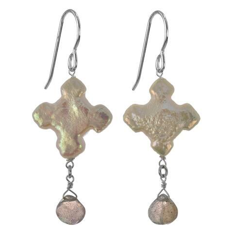 Handmade Cross Labradorite Faceted Briolette Dangle Sterling Silver Earrings - grey