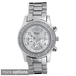Geneva Platinum Women's Round Case Link Watch