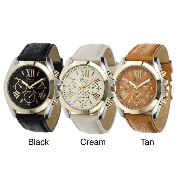 f6dd2f38a Shop Geneva Platinum Women's Faux-Leather Stainless-Steel Watch ...