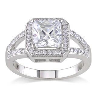 Miadora Sterling Silver White Cubic Zirconia Halo Ring