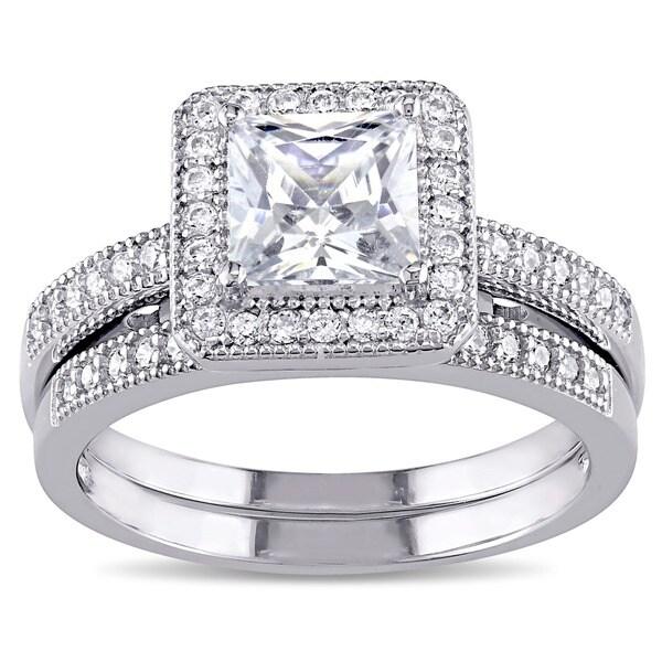miadora sterling silver white cubic zirconia bridal ring set - Cubic Zirconia Wedding Ring Sets