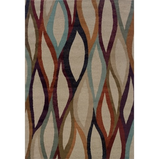Abstract Grey/ Multi Area Rug (1'11 x 3'3)