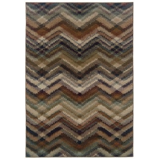 Chevron Ikat Navy/ Multi Area Rug (6'7 x 9'6)