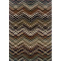 "Chevron Ikat Navy/ Multi Area Rug (5'3 x 7'6) - 5'3"" x 7'6"""