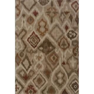 Tribal Ikat Grey/ Orange Area Rug (1'11 x 3'3)