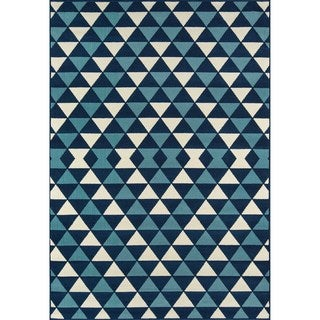 Indoor/ Outdoor Blue Kaleidoscope Rug (3'11 x 5'7)